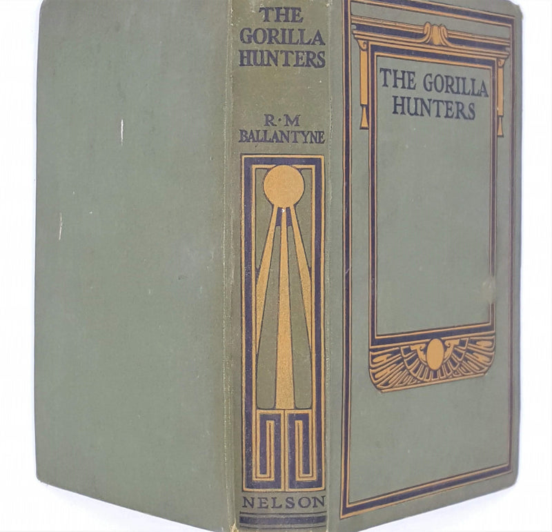 green-vintage-decorative-the-gorilla-hunters-antique-patterned-country-house-library-r-m-ballantyne-classic-thomas-nelson-thrift-old-books-
