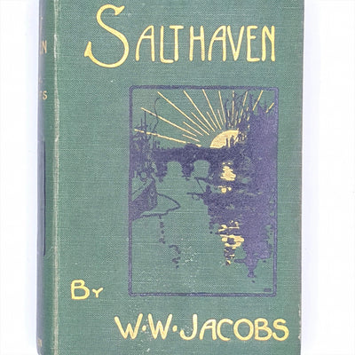country-house-library-decorative-old-antique-methuen-green-patterned-classic-thrift-salthaven-w-w-jacobs-vintage-books-