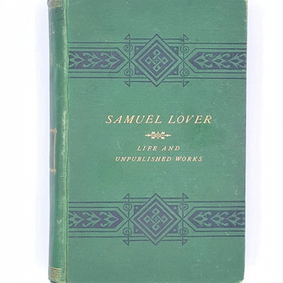 samuel-lover-bayle-bernard-patterned-vintage-1874-old-life-and-unpublished-works-antique-books-green-thrift-decorative-classic-henry-s-king-and-co-country-house-library-