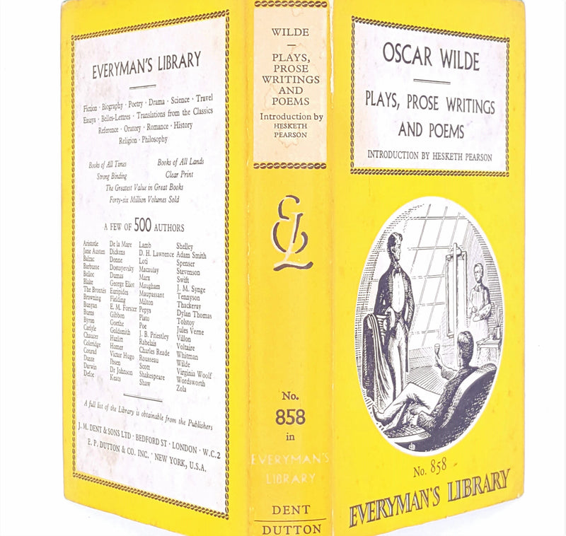 books-hesketh-pearson-old-vintage-everymans-library-country-house-library-1967-thrift-classic-dent-dutton-oscar-wilde-plays-prose-writings-and-poems-yellow-antique-decorative-patterned-