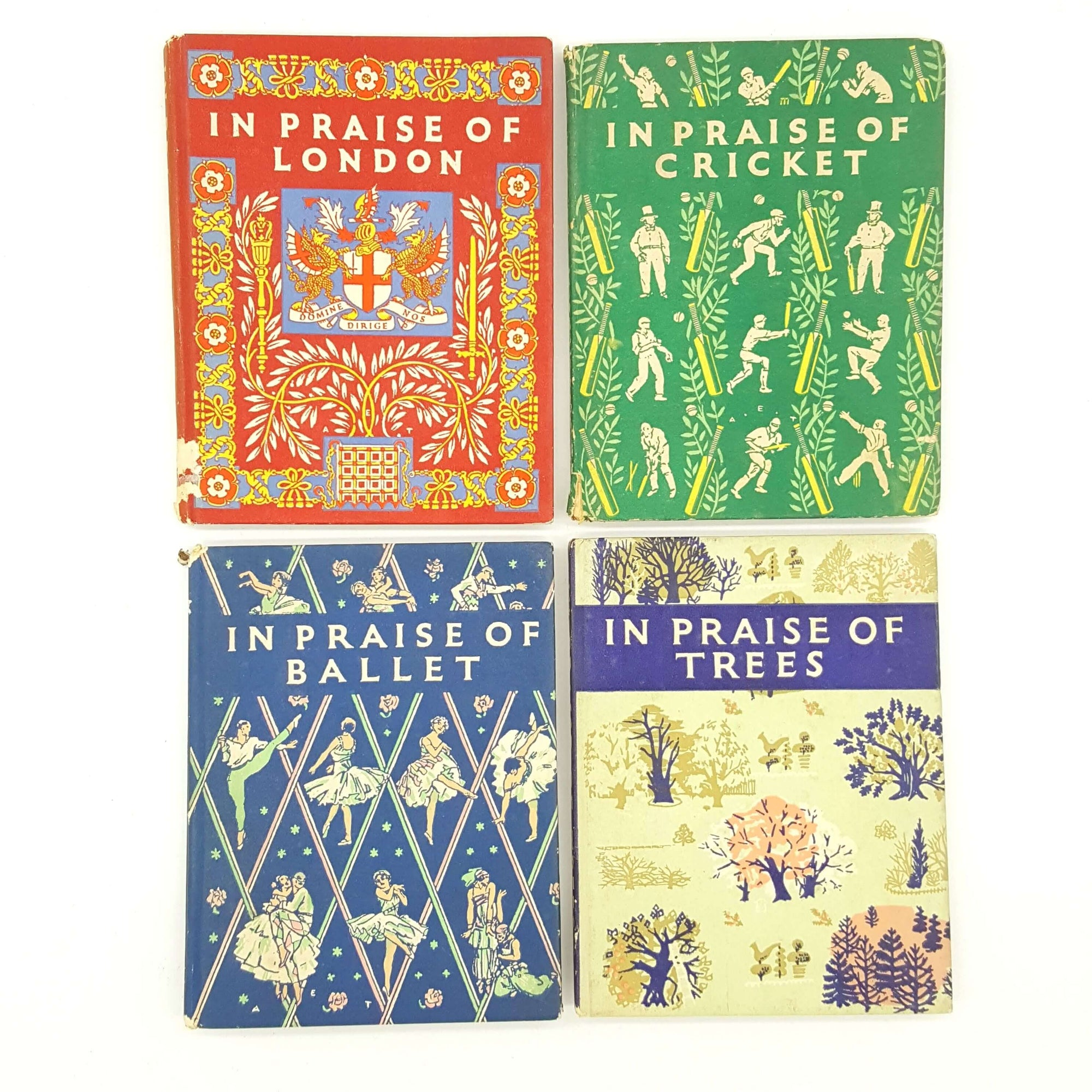 In Praise Of Ballet, Trees, London and Cricket Collection - Miniature Books Country House Library