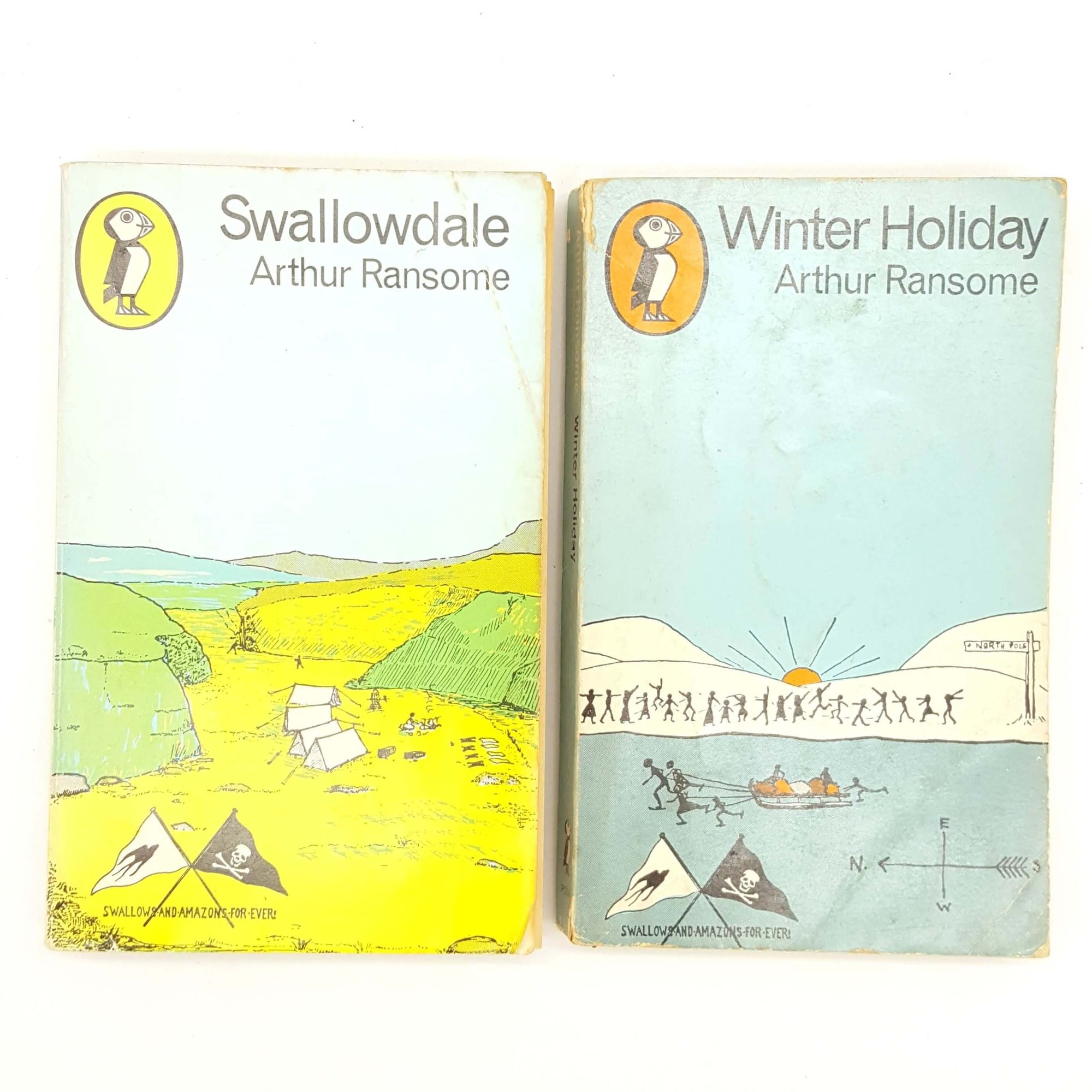 Arthur Ransome's Swallowdale and Winter Holiday c.1970 - Puffin Collection Country House Library