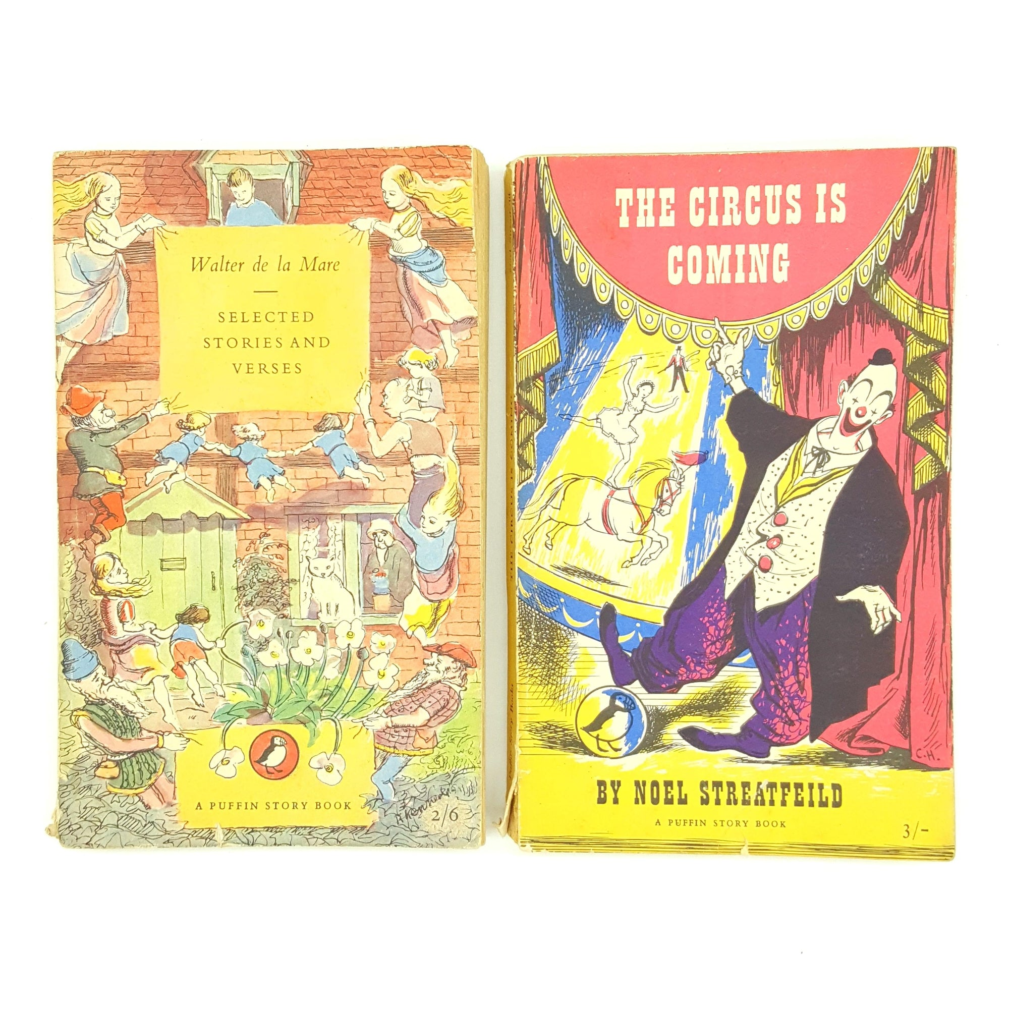 Two Children's Vintage Puffins - The Circus is Coming, Selected Stories and Verses 1952 Country House Library