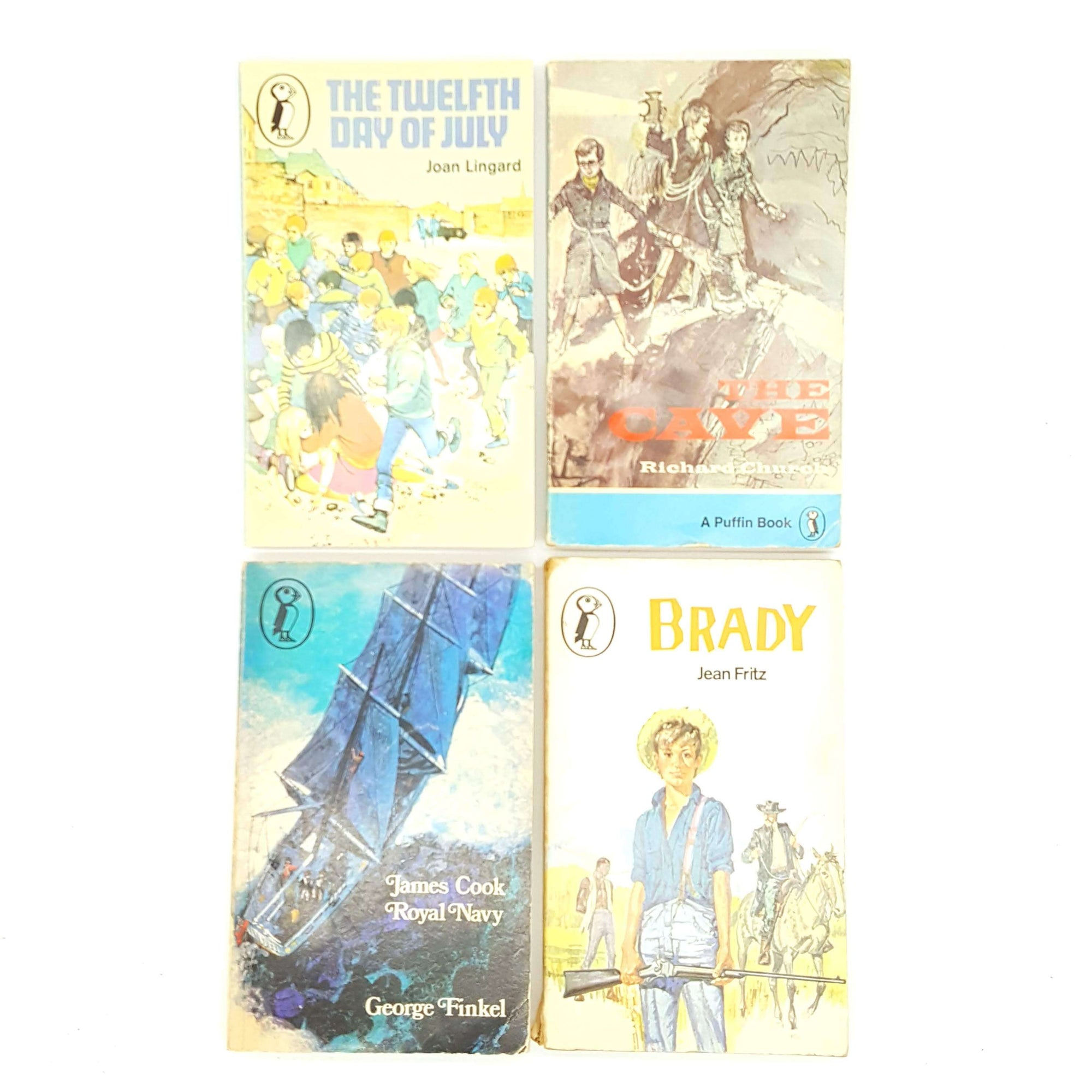 Four Puffin Books for Boys - The Cave, Brady, James Cook Royal Navy and The Twelfth of July  1970 Country House Library