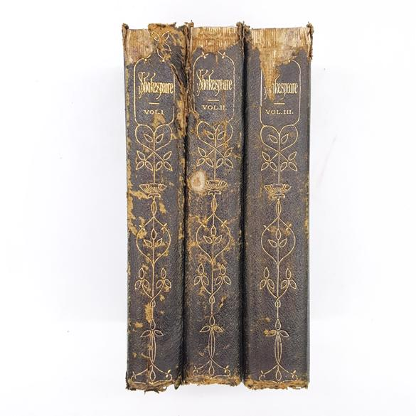 Shakespeare in Three Volumes 1917 - Decorative Gold Country House Library