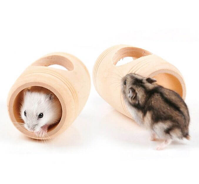 EM A14 Wooden Dwarf Hamster Mouse Furniture House Cage Toy Pet Tunnel Tube  Wine Cask Barrel Shapped Cave U2013 Hamster Product