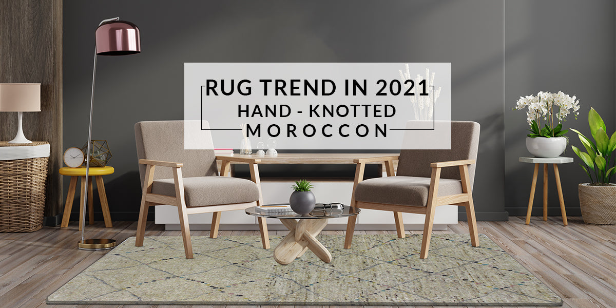Luxury Moroc Quarian Geometric Hand-Knotted Natural/Multi Area Rug
