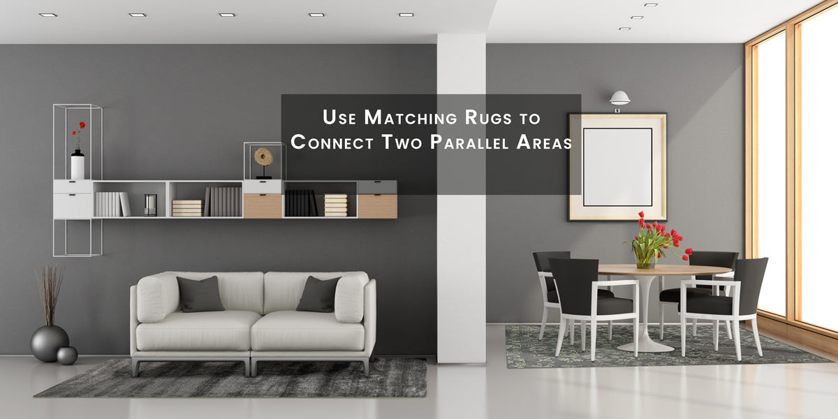 Use matching rugs to connect two parallel areas, How To Skillfully Combined Multiple Area Rugs In A Beautiful Way