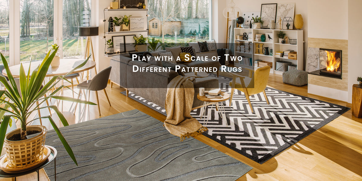 Play with a scale of two different patterned rugs,How To Skillfully Combined Multiple Area Rugs In A Beautiful Way