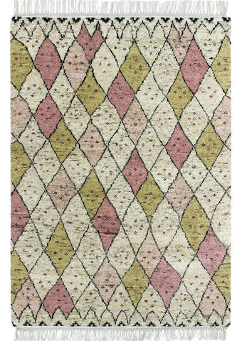 MAT Moroc Tribal Traditional Geometric Knotted Beige/Pink Area Rug Carpet