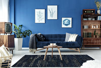 MAT Moroc Modo Traditional Geometric Knotted Navy Area Rug Carpet