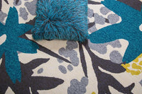 MAT Solana Bloom Area Rug Grey Turquoise
