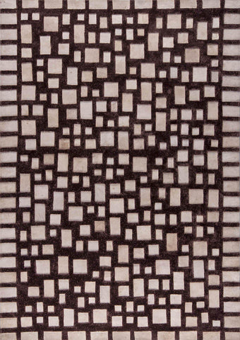 Luxury Abstract Geometric Contemporary Handmade Leather Tufted Rio Capella Beige/Brown Area Rug Carpet