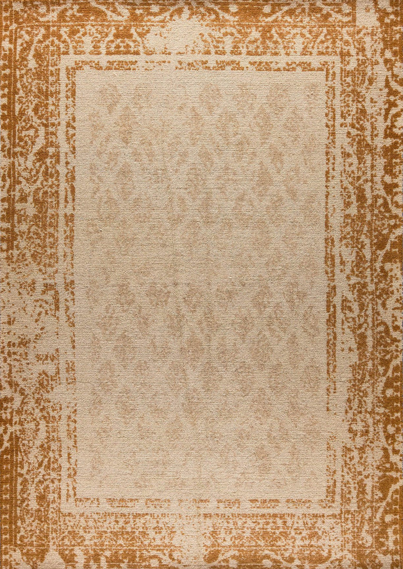 Modern Contemporary Geometric Abstract Border Mariam Corona Rust Wool Area Rug Carpet