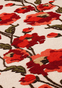MAT Milano Fiore  Area Rug White Red