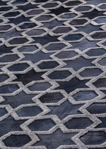 Luxury Geometric Contemporary Handmade Leather Tufted Rio Nihal Grey Area Rug Carpet