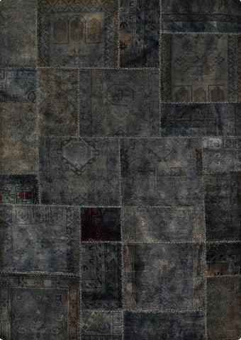 Vintage patchwork luxury Knotted Traditional Renaissance Grey Area Rug Carpet