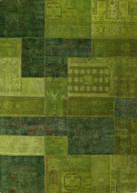Vintage patchwork luxury Knotted Traditional Renaissance Green Area Rug Carpet