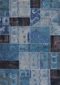 Vintage patchwork luxury Knotted Traditional Renaissance Blue/Indigo Area Rug Carpet