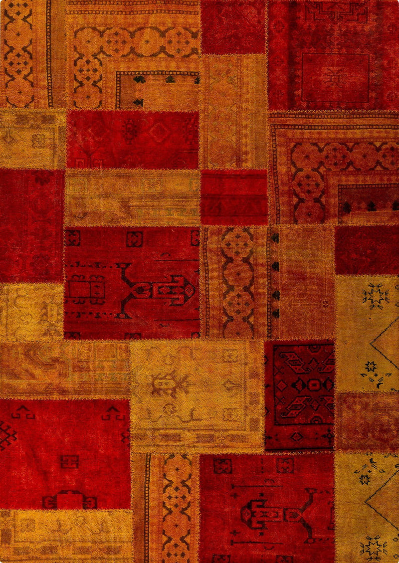 Vintage patchwork luxury Knotted Traditional Renaissance Red/Orange Area Rug Carpet