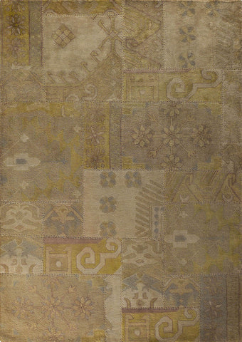 Vintage Luxury Traditional Patchwork Tufted Sarangi Beige/Brown Area Rug Carpet