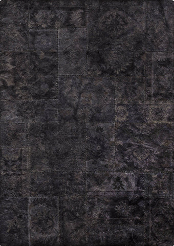 Vintage Luxury Traditional Patchwork Tufted Sarangi Black/Charcoal Area Rug Carpet