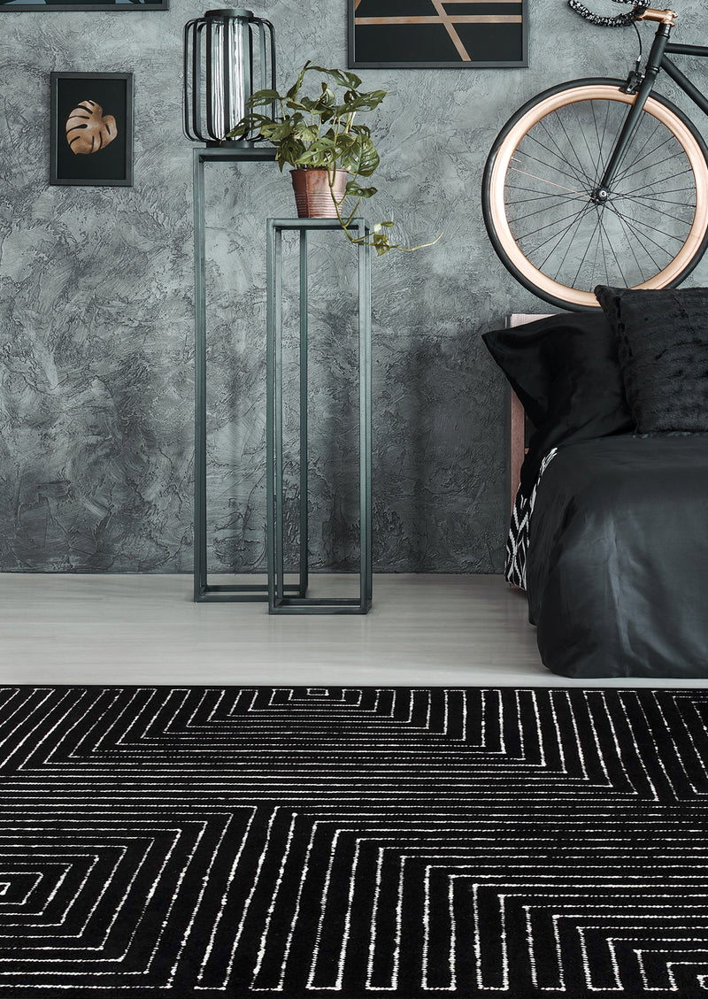 Toledo Area Rug Black White - MAT Living