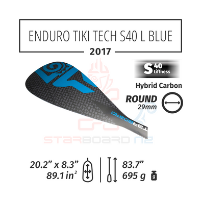 2017 STARBOARD SUP ENDURO 2.0 TIKI TECH WITH ROUND  HYBRID CARBON S40 - L BLUE