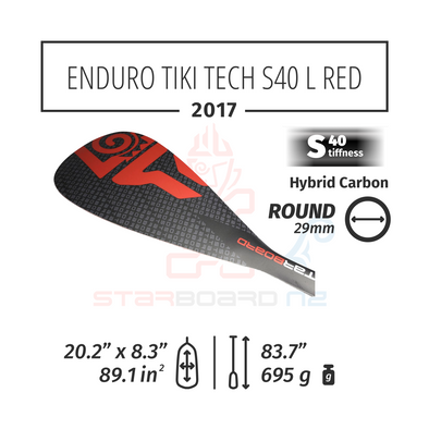 2017 STARBOARD SUP ENDURO 2.0 TIKI TECH WITH ROUND  HYBRID CARBON S40 - L RED