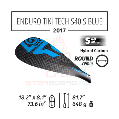 2017 STARBOARD SUP ENDURO 2.0 TIKI TECH WITH ROUND  HYBRID CARBON S40 - S - BLUE