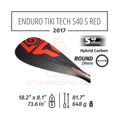 2017 STARBOARD SUP ENDURO 2.0 TIKI TECH WITH ROUND  HYBRID CARBON S40 - S - RED