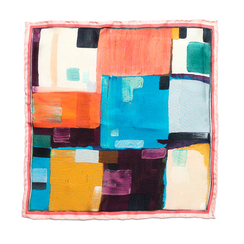 Eight Eight abstract silk pocket square