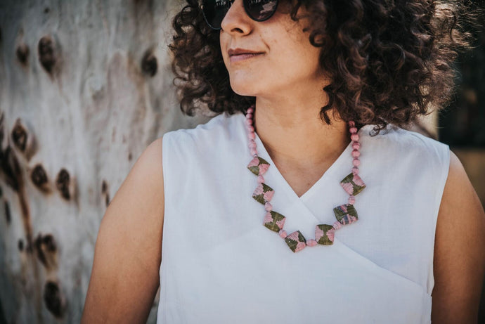 Pink square Nakawa necklace