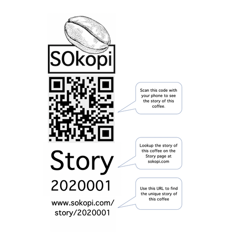 SOkopi Organic Single-origin Indonesian Roast Coffee - Story Identifiers, QR codes