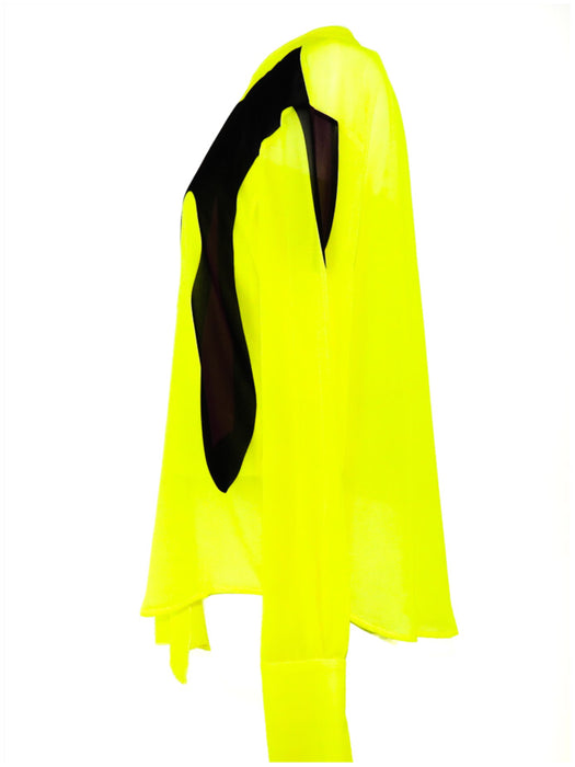 Issa Yellow And White Pleated Silk Blouse