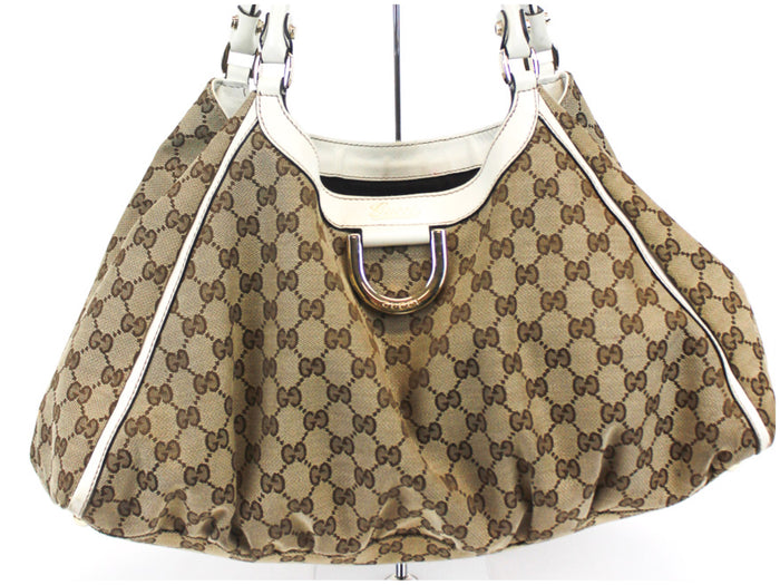 Gucci D Gold Beige Signature GG Shoulder Hobo Bag