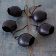String of Handmade Cow Bells - Black