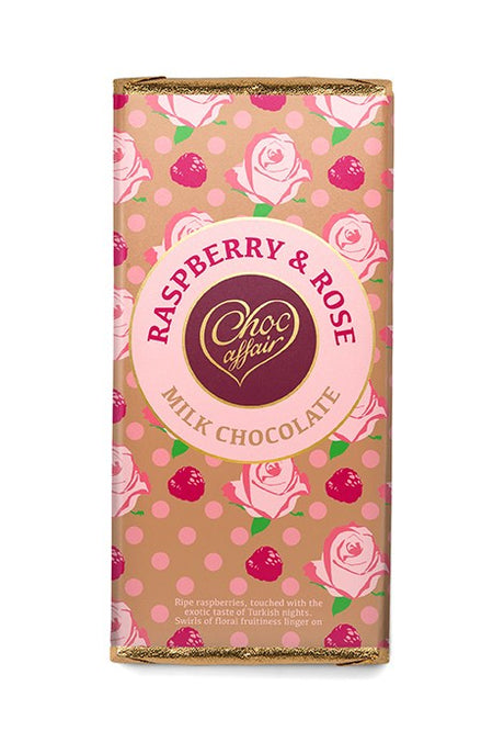 Rose & Raspberry Milk Chocolate Bar - 100g