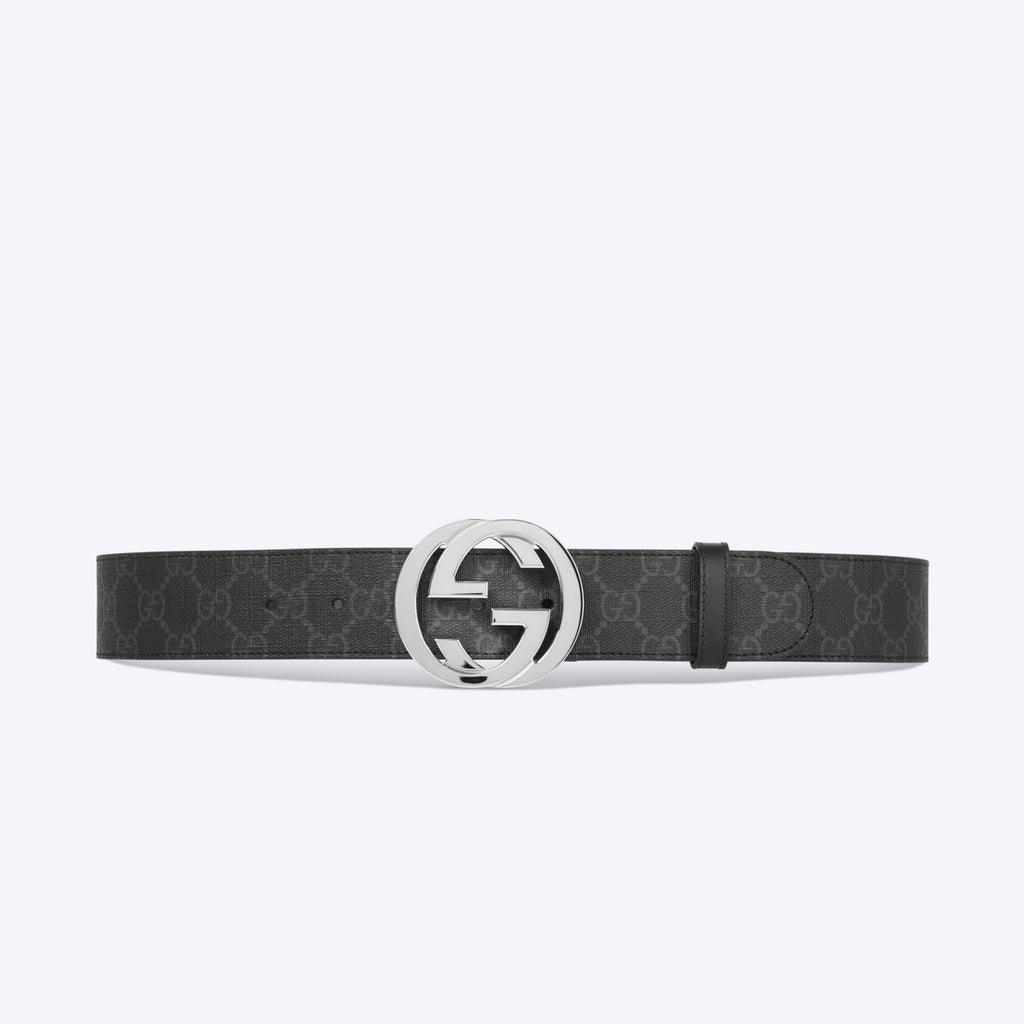 Gucci GG Supreme belt with G buckle - Black