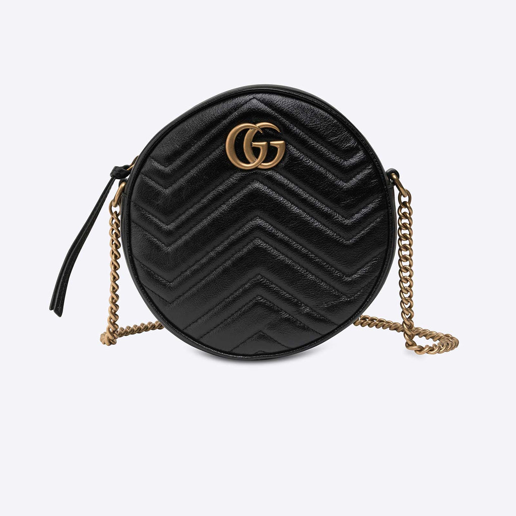 GG Marmont mini round shoulder bag Black