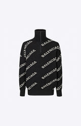 Oversized Logo-Intarsia Half-Zip Sweater - Black