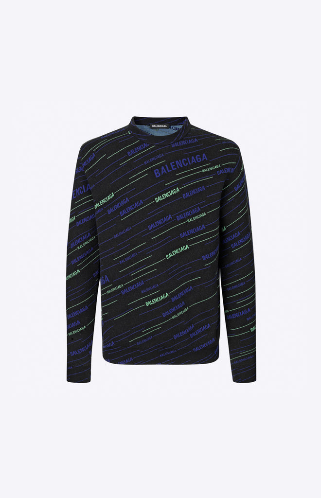 STRIPE LOGO CREWNECK - Black