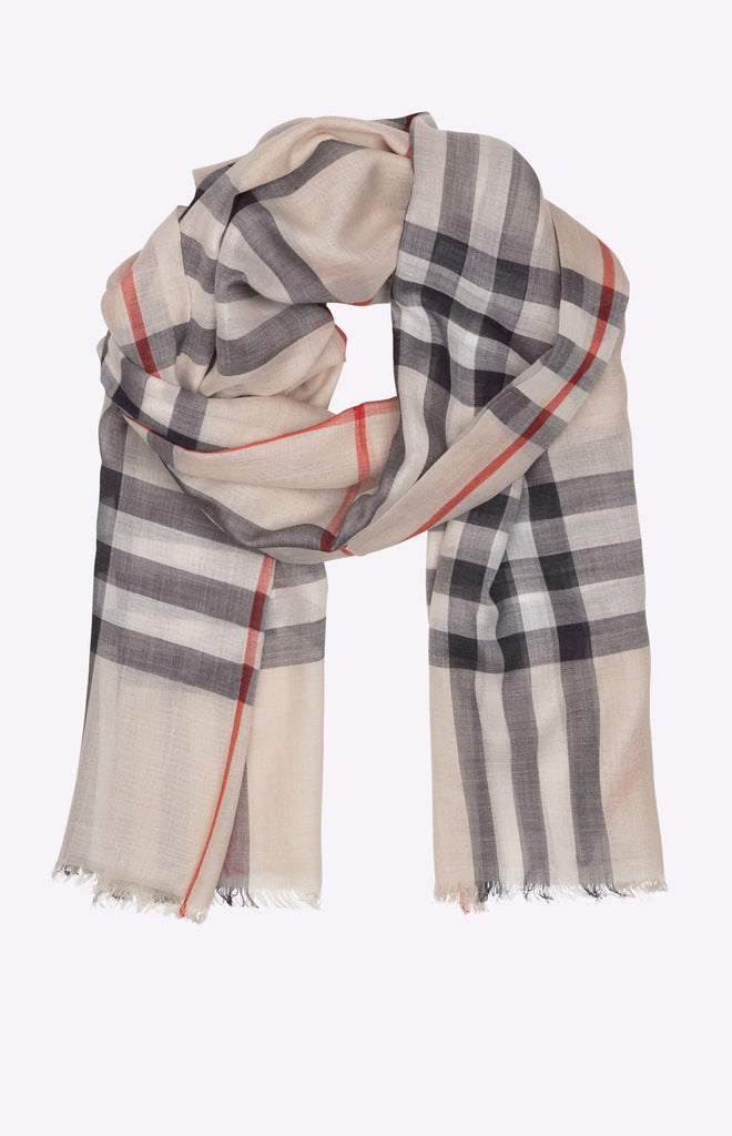 Burberry Lightweight Check Wool and Silk Scarf - Stone check