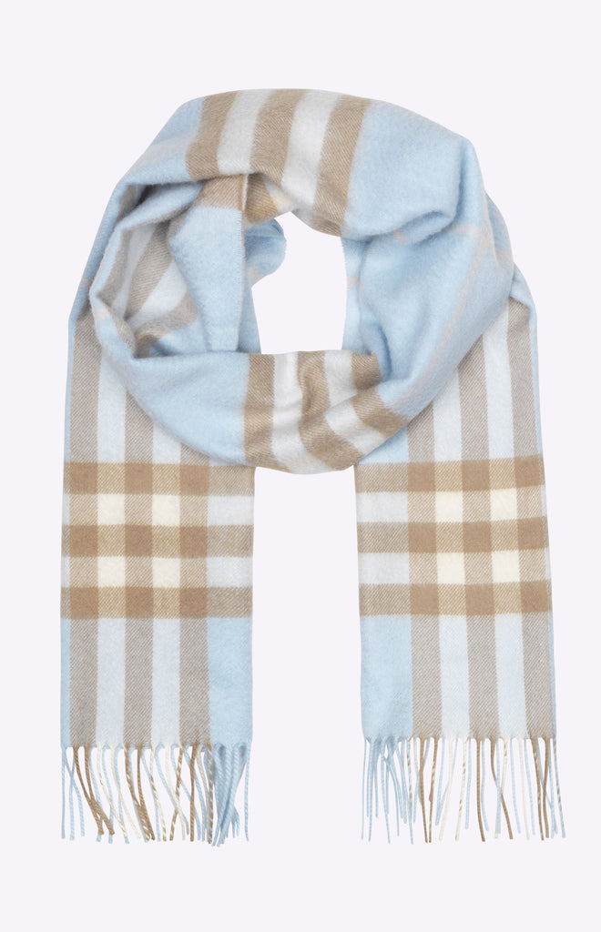 Burberry The Classic Check Cashmere Scarf - Pale blue