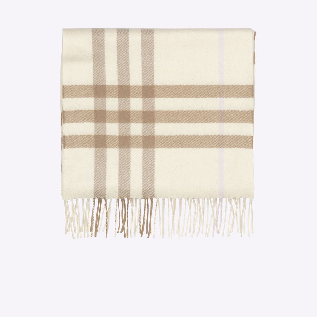 Burberry The Classic Check Cashmere Scarf - White Alabaster