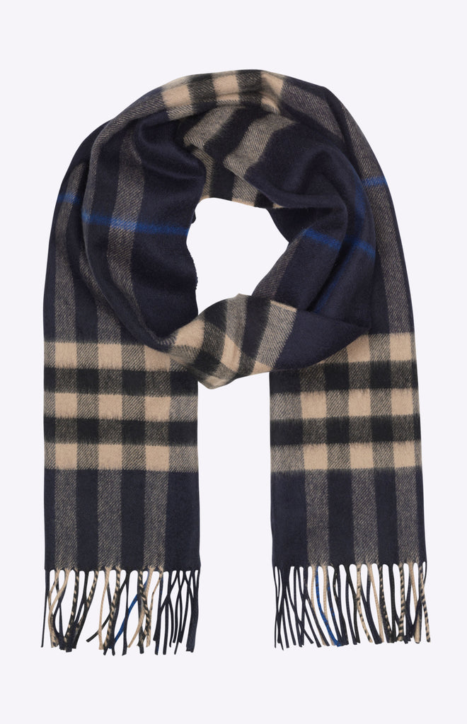 Burberry The Classic Check Cashmere Scarf - Indigo and mid camel