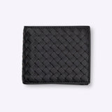 Bottega Veneta nero intrecciato coin purse bi-fold wallet - Black