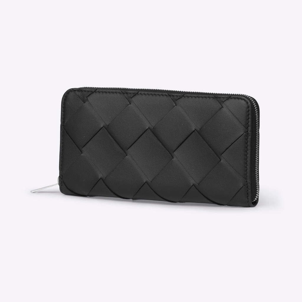 Bottega Veneta Medium Zip Around - Black