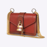 Aby Chain Mini Shoulder Bag - Sepia Brown.