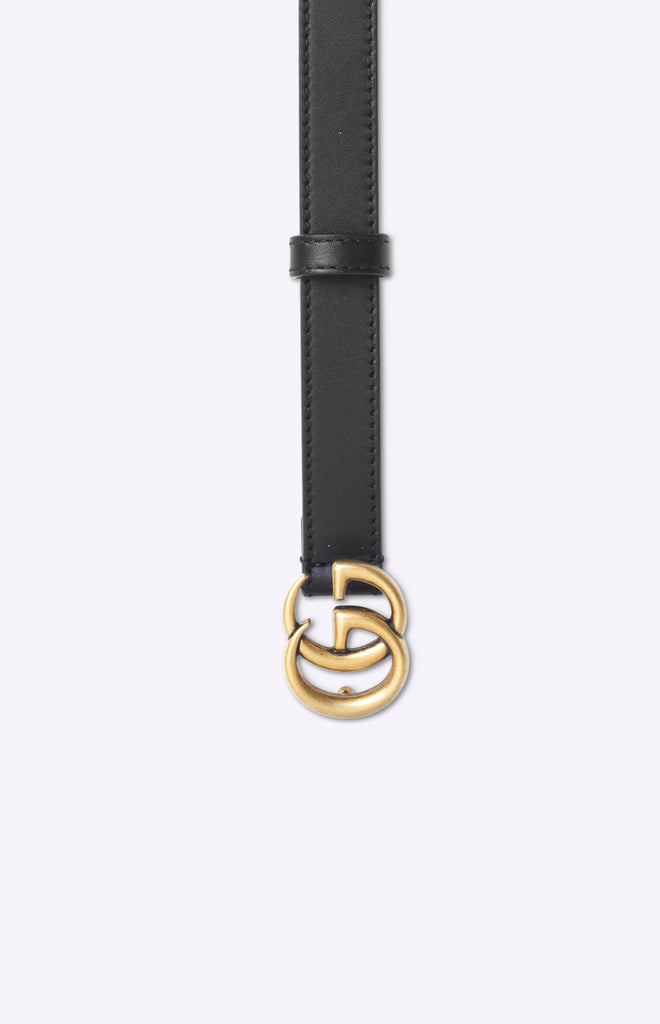 Gucci Leather belt with Double G buckle 20mm - Black